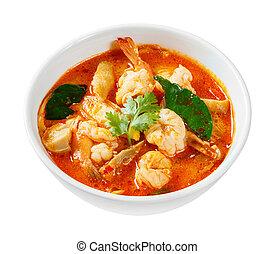 Tom yam koong - Thai spicy prawn or shrimp and lemon grass...