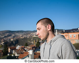 young man portrait outdoor
