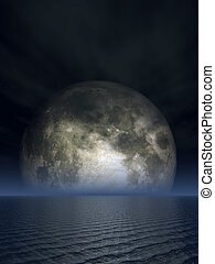 luna - full moon over the ocean - 3d illustration
