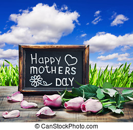 pink roses and congratulations on Mother's Day