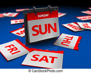 weekend - 3d illustration of calendar with sunday page