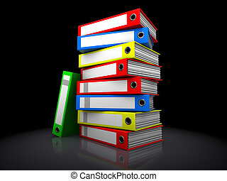 archive folders - 3d illustration of archive folders stack...