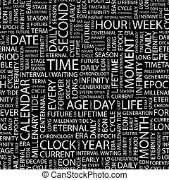 TIME Seamless pattern Word cloud illustration