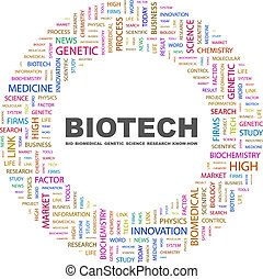 BIOTECH. Concept illustration. Graphic tag collection....