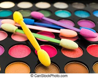 Multicolored, olho, sombras, cosméticos, escova