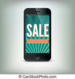 Smartphone with word Sale on display
