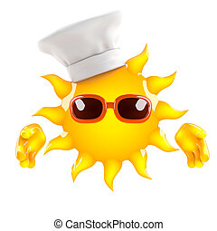 3d Sun chef - 3d render of the sun wearing a chefs hat