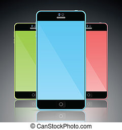 Set of colorful mobile smart phones