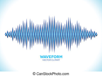 Blue sound waveform - Blue shiny sound waveform with sharp...