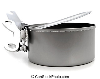 tin with opener - empty open tin with opener over white...
