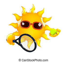 3d Sun tennis - 3d render of the Sun holding a tennis raquet