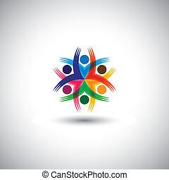 Feliz, coloridos, empregados, &, executivos, unidade,...