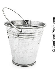 bucket - empty aluminium bucket over the white background