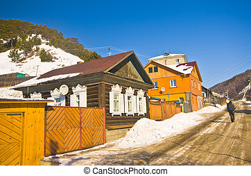 Group of houses. Listvyanka settlement, Lake Baikal, Russia....