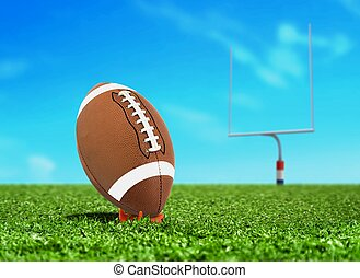 Ball on Tee with Goal Post - Football Ball on Kicking Tee...