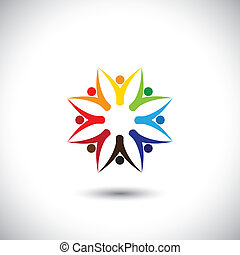 happy colorful people community in circle - concept vector....