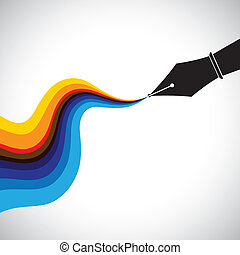 fountain pen nib and flowing colorful ink - creativity...