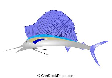 sailfish clip art over white