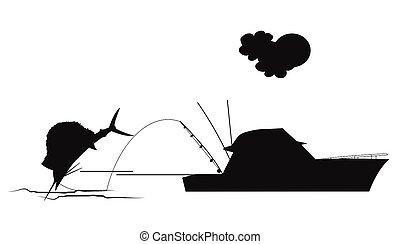 sailfish fishing in silhouette - sailfish on hook in...