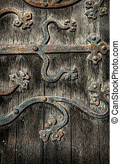 Ornate Door Hinge - Ornate and weathered church door hinge...