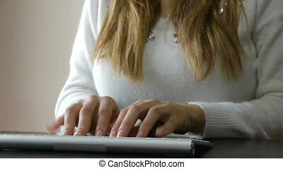 Woman typing on computer keyboard - Bussines woman working...
