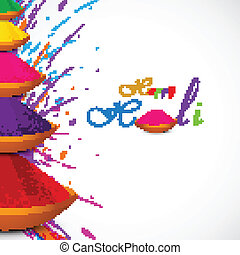 Beautiful card colorful holi gulal presentation celebration...