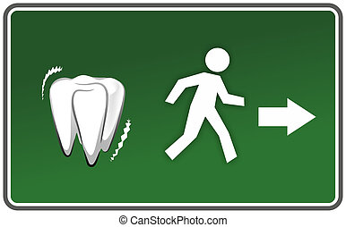 toothache - emergency exit sign with figure scared of...