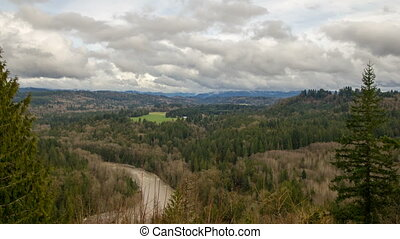 Sandy River Basin Scenic Landscape Clouds and Sky Time Lapse...
