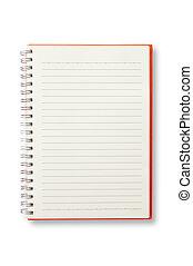vermelho, cobertura, caderno