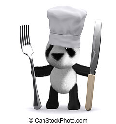 3d Baby Panda chef - 3d render of a panda chef with knife...