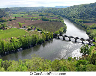 River Dordogne - Since castelnaud Castle , view on river...