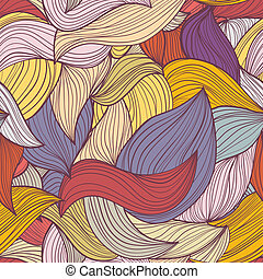 Seamless abstract hand-drawn waves pattern, wavy background....