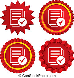 Text file sign icon Check File document symbol Red stars...