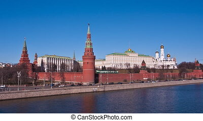 view to the Moscow Kremlin and the river Russia, Moscow -...