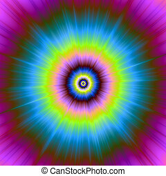 Tie-Dye in Blue Pink Yellow and Green - Digital abstract...