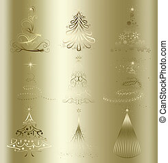 stylized Christmas tree on decorative floral gold background...