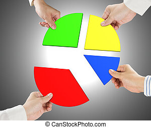 Holding four pie chart pieces