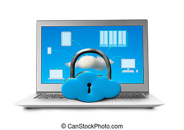 Cloud shape locker on laptop with devices drawing on screen...