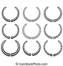 Black laurel wreaths set - Black laurel wreaths on the white...