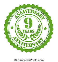 9 years anniversary stamp - 9 years anniversary grunge...