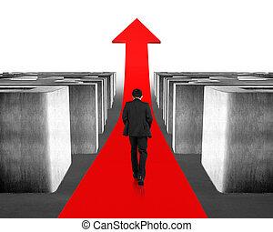Walking on growing red arrow through 3d maze