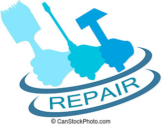 repair service - emblem for repair service vector silhouette