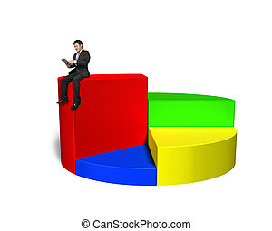 Using tablet and sitting on top of 3d pie chart