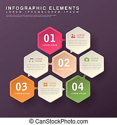 abstract hexagon infographics - modern vector abstract...