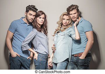 relaxed casual group of young friends - relaxed casual group...