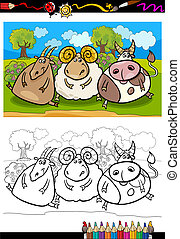 cartoon farm animals coloring page - Coloring Book or Page...