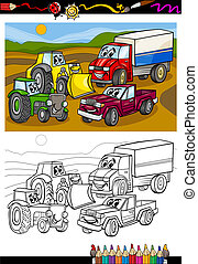 cartoon cars and trucks for coloring book - Coloring Book or...