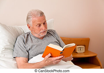 read senior in nursing home with the book