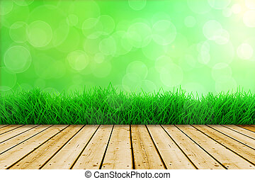 background with fresh green grass and wood floor