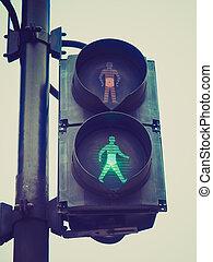 Retro look Green Light - Vintage retro looking Green light...